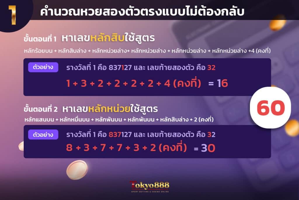 สูตรหวยแบบที่ 1 คำนวณแบบสองตัวตรงแบบไม่ต้องกลับ