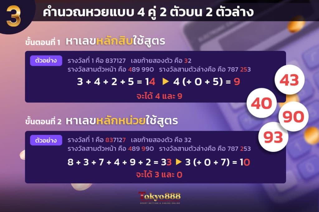สูตรหวยแบบที่ 3 คำนวณหวยแบบ 4 คู่ 2 ตัวบน 2 ตัวล่าง